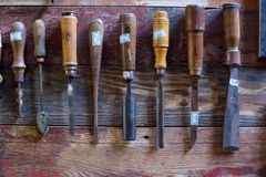 Old Chisels on Walls royalty free stock images