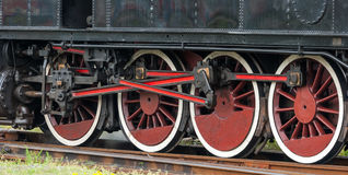 Old choo-choo train wheels. Detail stock photos