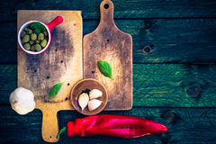 Old chopping boards spices herbs Stock Image