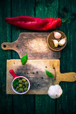Old Chopping Boards Spices Herbs Stock Photography