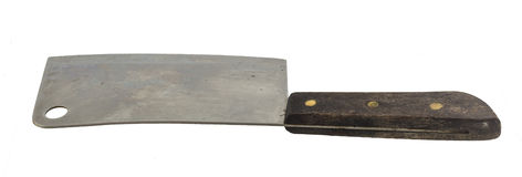 Old chopping knife on white Royalty Free Stock Images