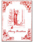 Old chrismas. Old red Christmas card Stock Photography