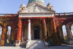 Old christian temple. Covered with ivy in autumn Royalty Free Stock Images