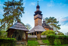 Old christian wooden church at autumn. Old christian wooden church at autumn Royalty Free Stock Image