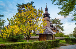 Old christian wooden church at autumn. Old christian wooden church at autumn Stock Photos