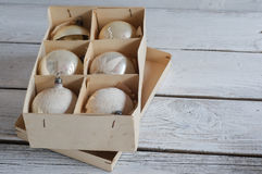 Old Christmas balls box stock photos
