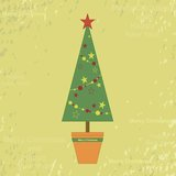 Old Christmas card. Retro card with Christmas tree in flowerpot Royalty Free Stock Photo