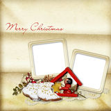 Old Christmas card with cookies Stock Images