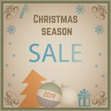Old Christmas card Sale. Simple banner for 2019 New Year. Grunge aged template stock illustration