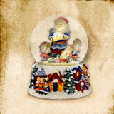 Old Christmas Card, Santa Claus ball of water Royalty Free Stock Photography