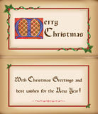 Old Christmas Card With Frame, Congratulations. Stock Photo