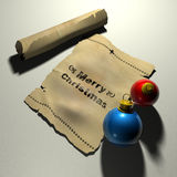 Old Christmas Greetings. Christmas greetings on old wrinkled paper and one folded paper with 2 christmas balls Royalty Free Stock Images