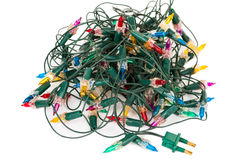 Old Christmas lights. On white background Royalty Free Stock Photography