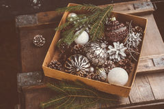 Old Christmas ornamentals in the box Royalty Free Stock Photo