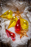 Old Christmas ornaments. Glass Christmas ornaments in wrapping paper Royalty Free Stock Photography