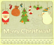Old Christmas postcard royalty free illustration