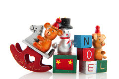 Old christmas toys. Old vintage christmas toys isolated over white Royalty Free Stock Photography