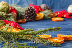 Old Christmas-tree decoration and eco style decorate with garlan Royalty Free Stock Photography