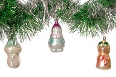 Old christmas-tree decorations. Picture post card Royalty Free Stock Image