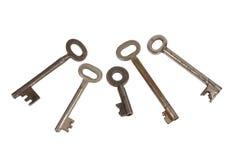Old chrome keys. On white background Stock Photography