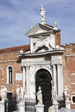 Old Chuch In Venice, Italy. Old Church Entrance Door / Gate In Venice, Italy stock photography