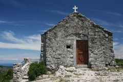 Old church. Small old rural church located in hill Hum on ireland Vis, Croatia Royalty Free Stock Images