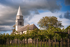 Old Church. Idyllic Country Church With The Vineyard Against Blue Sky Stock Images