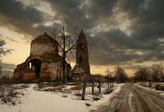 Old church. Village Cemetery with Temple in Moscow district. The Temple of the Saint Whitsunday or Tenth friday. It was built in 1836, but it was reconstructed royalty free stock photography