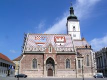 Old church in Zagreb, Croatia. Old church in Zagreb, famous for its colorful  roof Royalty Free Stock Image