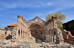 Old church. Nesebar ruins of church, Bulgaria royalty free stock photo
