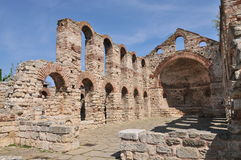 Old church. Nesebar ruins of church, Bulgaria royalty free stock image