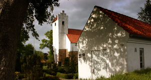 Old Church. A white Danish church built in the year 1700 stock image