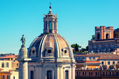 The old church and ancient Trajan's Column in Rome Royalty Free Stock Images