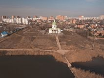 The old Church of Armenian Monastery Surb - Hach. Aerial view Stock Photo