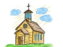 Old church artistic drawing Royalty Free Stock Photo