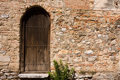 Old Church Backdoor. Backdoor of the St. Sofia basilica in Ohrid, Macedonia royalty free stock photo
