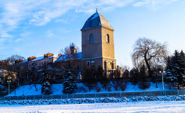 old Church on the background of blue sky in winter Royalty Free Stock Images
