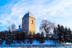 Old Church on the background of blue sky in winter Royalty Free Stock Photos
