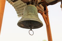 Old church Bell. Old repousse, bas relief church Bell Stock Image