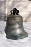 Old church bell on the snow. Moscow Kremlin. UNESCO World Heritage Site. Stock Photo