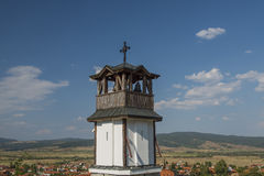Old church bell tower. With blue sky Royalty Free Stock Images