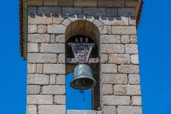 Old church bell tower of Castilla la Mancha. Spain. Detail of ancient bell tower of the church of Villa Vicolozano in the community of Castilla la Mancha in the Royalty Free Stock Images