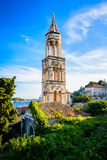 Old church bell tower on the island of Hvar in Dalmatia Stock Images