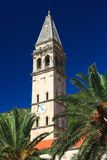 Old church with a bell tower in Perast, Montenegro Royalty Free Stock Images