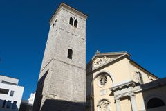 Old Church with Pillars and Bell Tower in Rijeka Stock Photo