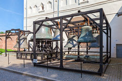 Old church bells of St. Sophia Cathedral in Novgorod kremlin, Ru stock photography