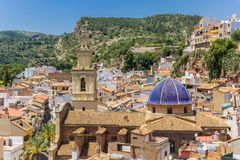 Old church with blue dome in the historic center of Bunol. Spain stock photo