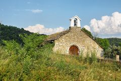 Old church in Boltana, Huesca, Spain stock images