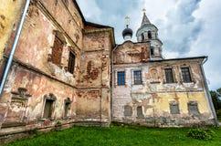Old church in Borisoglebsky monastery in Torzhok, Russia. Walls of old church in Borisoglebsky monastery in Torzhok, Tver region, Russia stock image