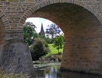 Old Church and Bridge Stock Photo